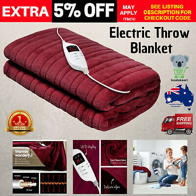Giselle Bedding Heated Throw Rug Snuggle Blanket Washable Coral Fleecy Electric