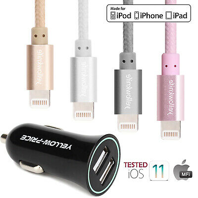 MFI Braided Lightning Charging Cable / Cable+2.4A / 5.4A QC Fast Car Charger