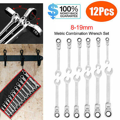 12Pcs Metric Flexible Head Ratcheting Wrench Combination Spanner Set 8-19mm US