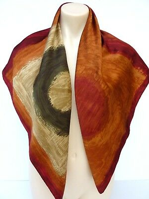 VTG 70 s J Taylor Pure Silk Med Weight Abstract Motif Square Scarf Generous Size