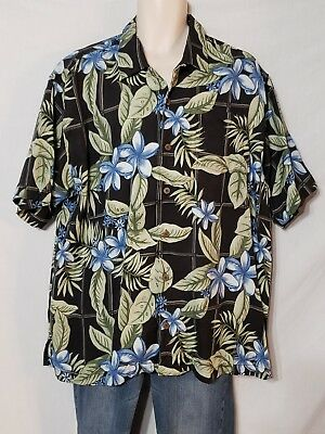 42fa2cc1 Tommy Bahama Black Floral 100% Silk Aloha Hawaiian Shirt Mens Size XL EUC
