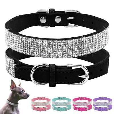 Crystal Diamante Cat Dog Collars Fancy Bling Rhinestone Dog Necklace XS S-M