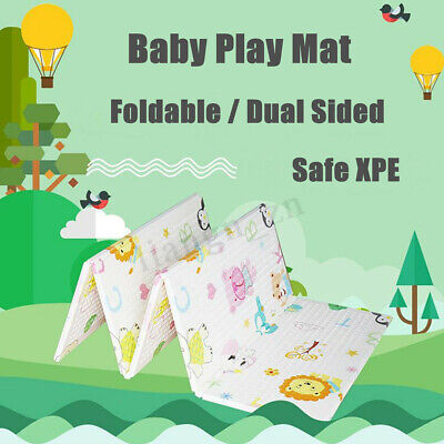 Two-sided Foldable Baby Kids Play Mat Floor Alphabet Animal Crawling Pad 1.8x2M
