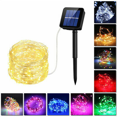 Solar Power Fairy LED Light String Strip Outdoor Copper Wire  Room +Solar Panel