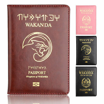 Black Panther Wakanda Passport Cover Holder Travel Case Wallet Credit Card Case