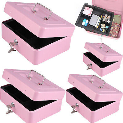 Metal Security Cash Box Money Bank /Coin Tray Steel Tin Petty Safe Lockable Pink