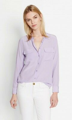 f75188820905b 100%Silk Equipment Slim Signature Shirt Casual Blouse Light Purple Lavender  New