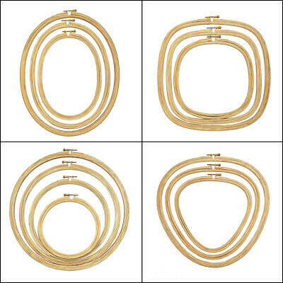 Wooden Embroidery Hoop Adjustable Embroidery Frame Cross Stitch Hoop Ring 1 Pcs