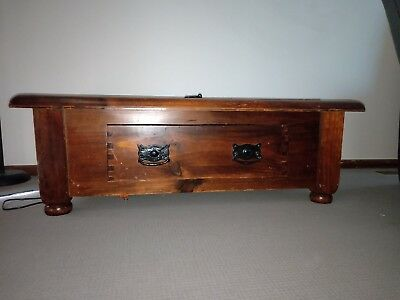 timber coffee table with draw and lift top lid
