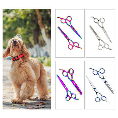 Stainless Steel Safety Pet Dog Hair Cutting Grooming Thinning Scissors Shears UK