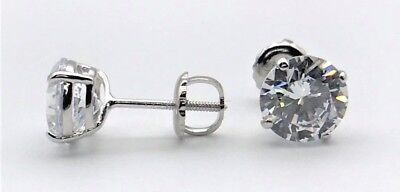 4 Ct Round Created Diamonds Stud Earrings Real 14K Solid White Gold Screw Back