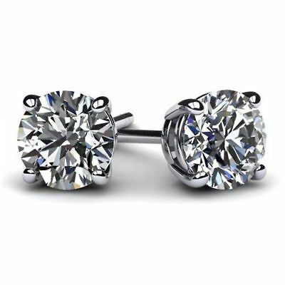 2 Ct Round Stud Earring Solid Real 14K White Gold Brilliant Cut Basket ScrewBack