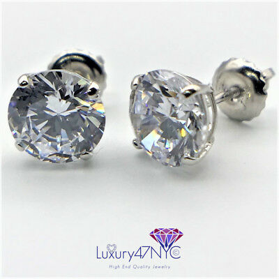 4 CT Round Cut Lab Diamonds Stud Earrings Real 14K Solid White Gold  Screw-Back