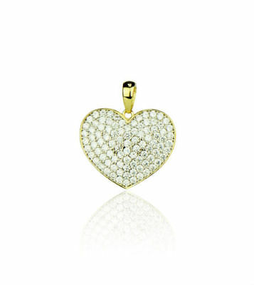 Heart Diamonds Pendant Necklace Real Solid 14k Yellow Gold 16.5 mm x 14.0 mm