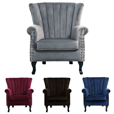 Antique Retro Wing Back Occasional Chair Fabric Tub Armchair Living Room Bedroom