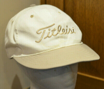 f9c7746039e Vintage Titleist Golf Leather Strapback Hat Bronze Cream Cap Texace Made in  USA