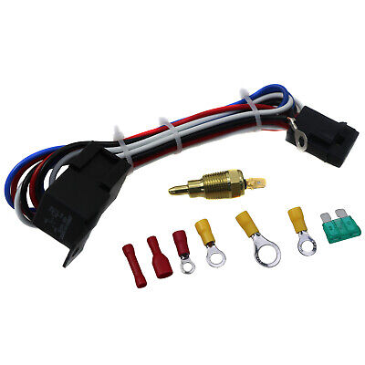 Electric Cooling Thermostat Fan Sensor Temperature Switch Wiring Relay Kit