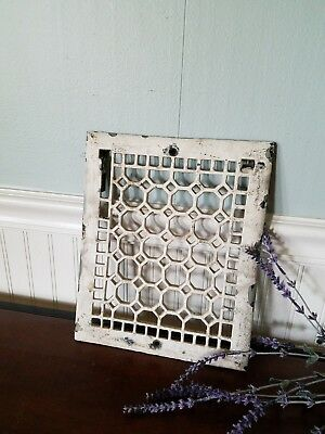 Antique White Cast Iron Grate, Vintage Vent Cover Salvaged Register Cover