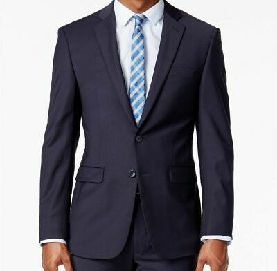 $550 Calvin Klein 42r Men'S Blue Extra Slim X Fit Wool Blazer Suit Coat Jacket