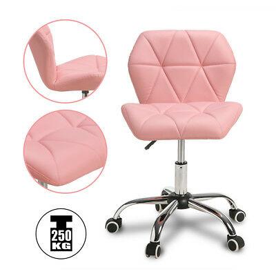 Adjustable Pink Leather Computer Desk Office Chair Cushioned Swivel Chrome Legs