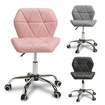 Adjustable Computer Desk Office Chair Cushioned 360° Swivel Gas Lift Chrome Legs