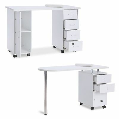 White Manicure Nail Bar Table Art Salon Beauty Storage Station Desk with Drawers