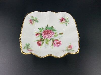 Hammersley Grandmother's Rose Square Candy Sweet Nut Dish Bone China England