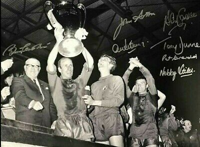 Manchester United European Cup 1968 16X12 Football Photo Signed By 7 Coa Proof