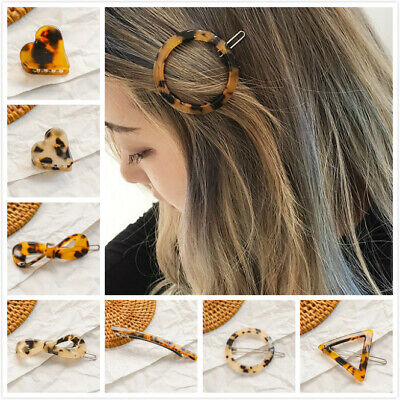 Women's Girls Amber Geometric Hair Clips Slides Clamps Barrette Hairpins Grips