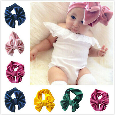 Handmade Velvet Turban Bows Headband Baby Kids Elastic Knot Hair Band Head Wrap