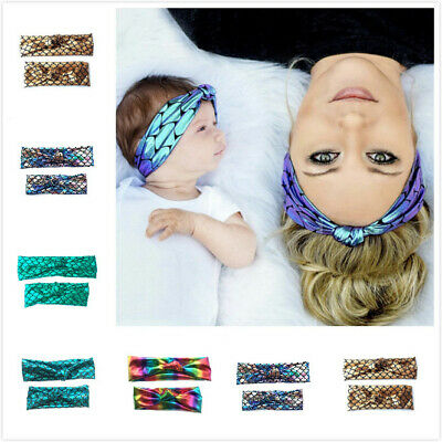 Mermaid Mother & Baby Elastic Hair Band Headband Infant Toddler Knot Hair Bands