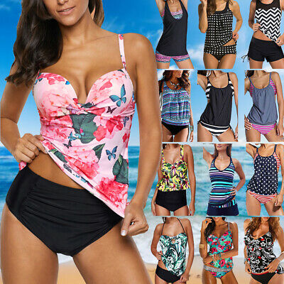f31baf0d86 Women's Push Up Tankini Bikini Set Tank Top Boy Shorts Padded Swimwear  Beachwear