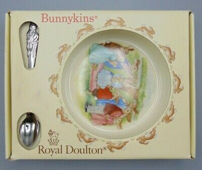 Royal Doulton Bunnykins Nursery Set Baby Plate and Feeding Spoon New in Box