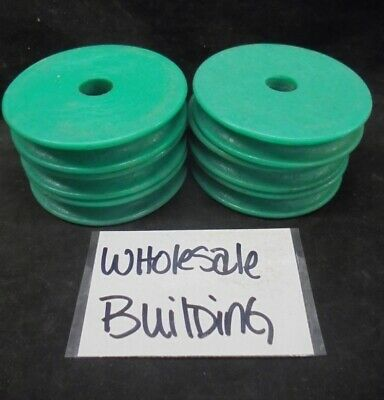 "Conveyor Belt Plastic Pulley Wheel, 2-15/16"" Od, 1/4"" Bore, Green, Lot Of 6"
