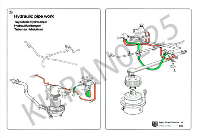 (A3) David Brown Case Tractor Brochure Poster Hydraulic pipework