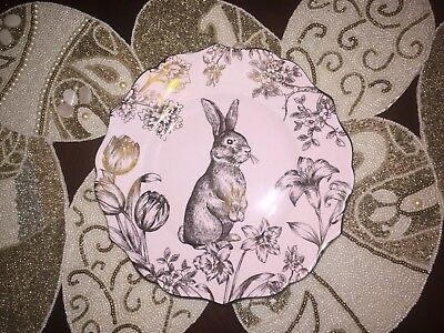 NEW 222 Fifth BUNNY HILL PINK & GOLD 2 SALAD PLATES EASTER SPRING WEDDING NEW