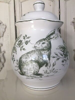 """Brand Nwot Maxcera Green & White Toile Easter Bunny Cookie 8.5"""" Treat Ginger Jar"""