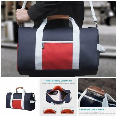 3947970e538 REYLEO Sports Gym Bag Small Travel Duffel Bag Water Resistant Bags with  Leather