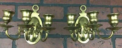 Vintage Brass Pair Of Candle Holders Triple 3 Arm Candelabra Wall Sconce