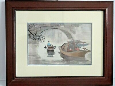 Vintage Chinese Cormorant fisherman silk embroidery picture