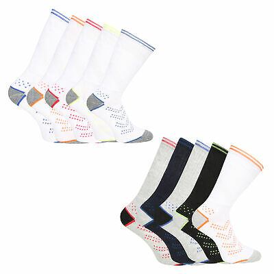 Mens 5 Pack Sport Socks Running Outdoor Trainer Cushioned Socks White Size 6-11