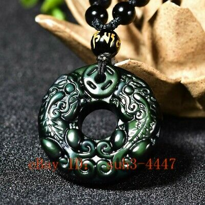 Natural Colour Obsidian Two Tiger Pendant Beads Necklace Carved Jewellery Amulet
