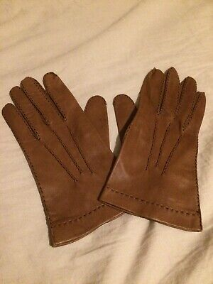 Ladies Brown Very Soft Leather Gloves Size 7 1/2 By Morley Made In Hungary