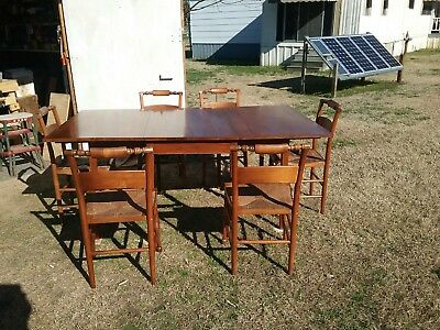 Antique Henkel & Harris Mahogany  Dn. Rm. Table 6 Wooden Chairs Woven Rush 1957
