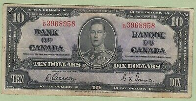 1937 Bank of Canada 10 Dollar Note - Gordon/Towers - L/D3968958 - Fine