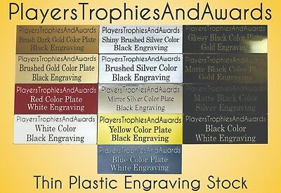 Nameplate .75 x 4.5 THIN PLASTIC name plate CUSTOM laser engraved tag Proof incl