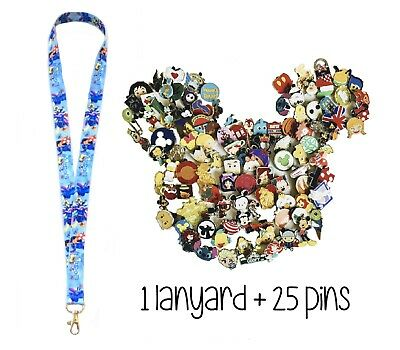 Lilo and Stitch Lanyard + 25 Disney Trading Pins With Pin Trading Guide - New!