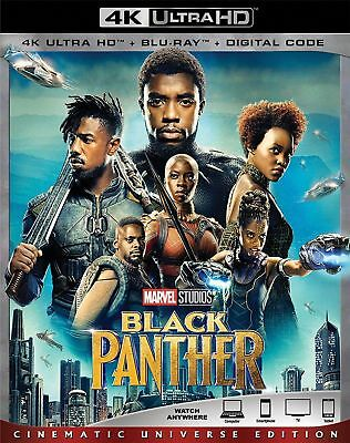 Marvel's Black Panther(4K Ultra Hd+Blu-Ray+Digital Hd+Slipcover 2018) New Sealed