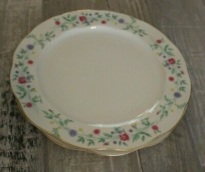 Set Lot of 2 Luncheon Salad Plates Ophelia Pink Blue Yellow Flowers Spring Japan