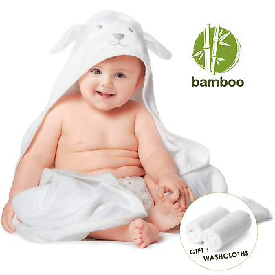 Organic Bamboo Baby Hooded Towel with Bonus Washcloth Set, Ultra Soft Bath with